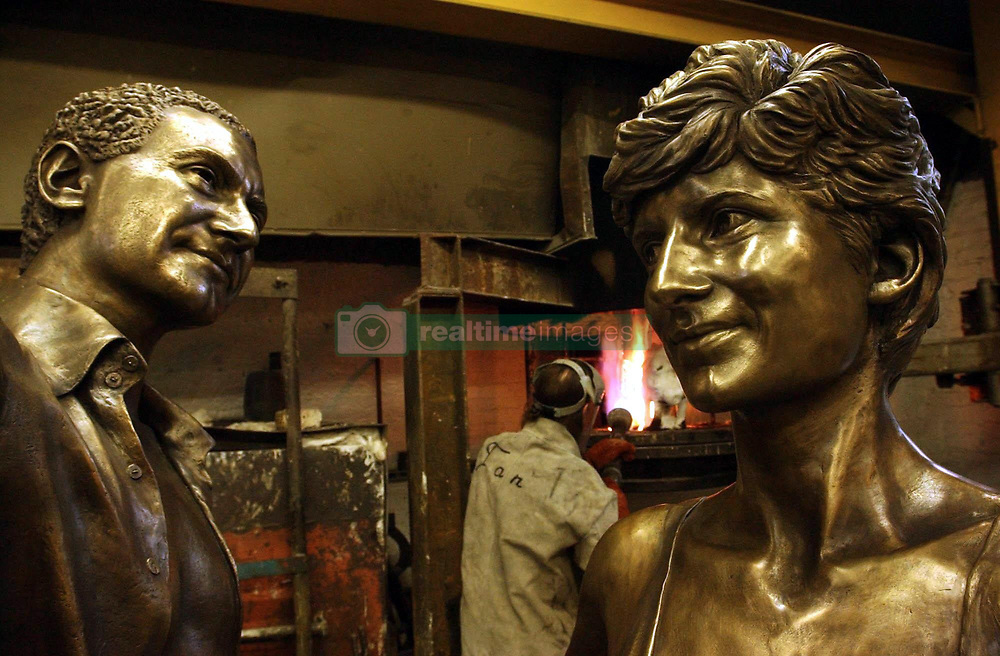 Innocent Victims - a bronze statue of Diana, Princess of Wales and Dodi Al Fayed stands in the Bronze Age foundry in east London.