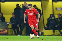 DORTMUND, GERMANY - Thursday, April 7, 2016: Liverpool's Philippe Coutinho Correia in action against Borussia Dortmund during the UEFA Europa League Quarter-Final 1st Leg match at Westfalenstadion. (Pic by David Rawcliffe/Propaganda)