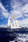 Juno sailing in the Old Road Race at the 2011 Antigua Classic Yacht Regatta.