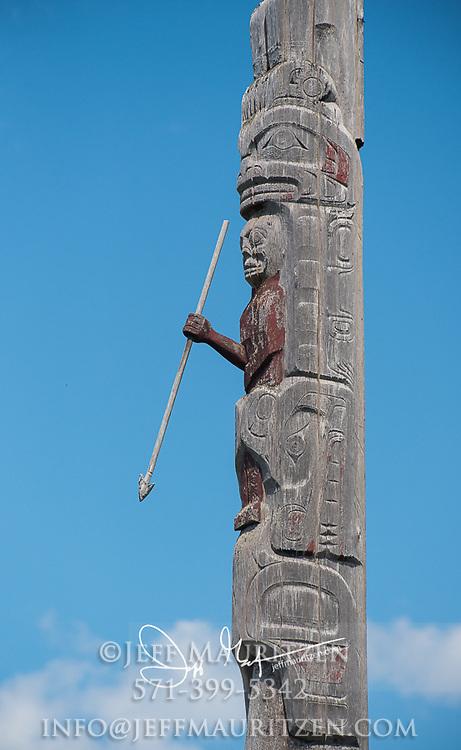 Totem pole of Kwakwakawakw origin in Alert Bay, British Columbia, Canada.