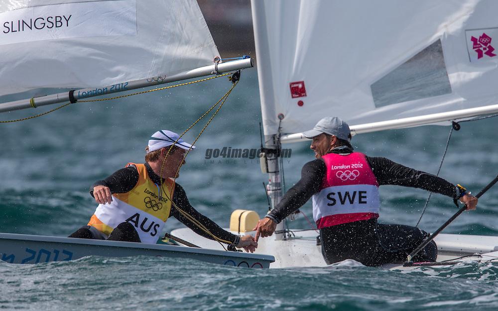 GOLD<br /> Slingsby Tom, (AUS, Laser)<br /> BRONZE<br /> Myrgren Rasmus, (SWE, Laser)<br /> <br /> 2012 Olympic Games <br /> London / Weymouth