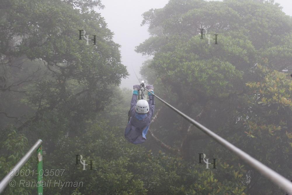 Ecoteach girl ziplines through the Monteverde cloud forest on Sky Trek cable; Monteverde, Costa Rica.
