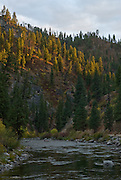 Upstream of the Lucky Peak Dam and reservoir.  Middle Fork of the Boise River, Idaho. Autumn.