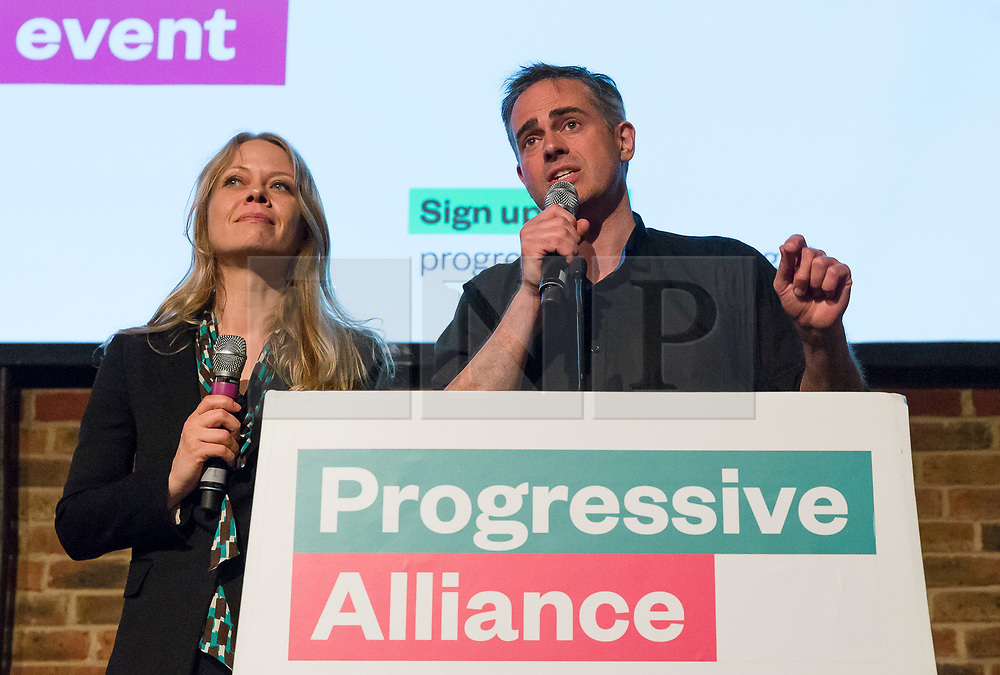 © Licensed to London News Pictures. 15/05/2017. LONDON, UK. JONATHAN BARTLEY and SIAN BERRY from the Green Party speaking at the Progressive Alliance launch in London. Jonathan Bartley and Sian Berry have been elected Green Party co-leaders.  Photo credit: Vickie Flores/LNP
