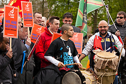 Luton, UK. 5th May, 2012. Supporters of Unite Against Fascism attend the We Are Luton/Stop The EDL rally, organised by We Are Luton and Unite Against Fascism in protest against a march by the far-right English Defence League.