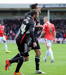 Bristol City's Sam Baldock battles for the ball celebrates with Bristol City's Martin Paterson - Photo mandatory by-line: Joe Meredith/JMP - Mobile: 07966 386802 12/04/2014 - SPORT - FOOTBALL - Walsall - Banks' Stadium - Walsall v Bristol City - Sky Bet League One
