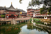 View of the Huxinting Teahouse in Yu Yuan Gardens Shanghai, China