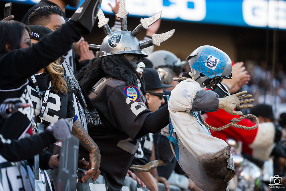 An Oakland Raiders fan taunts the Indianapolis Colts with a homemade dummy at Oakland Coliseum in Oakland, Calif., on December 24, 2016. (Stan Olszewski/Special to S.F. Examiner)