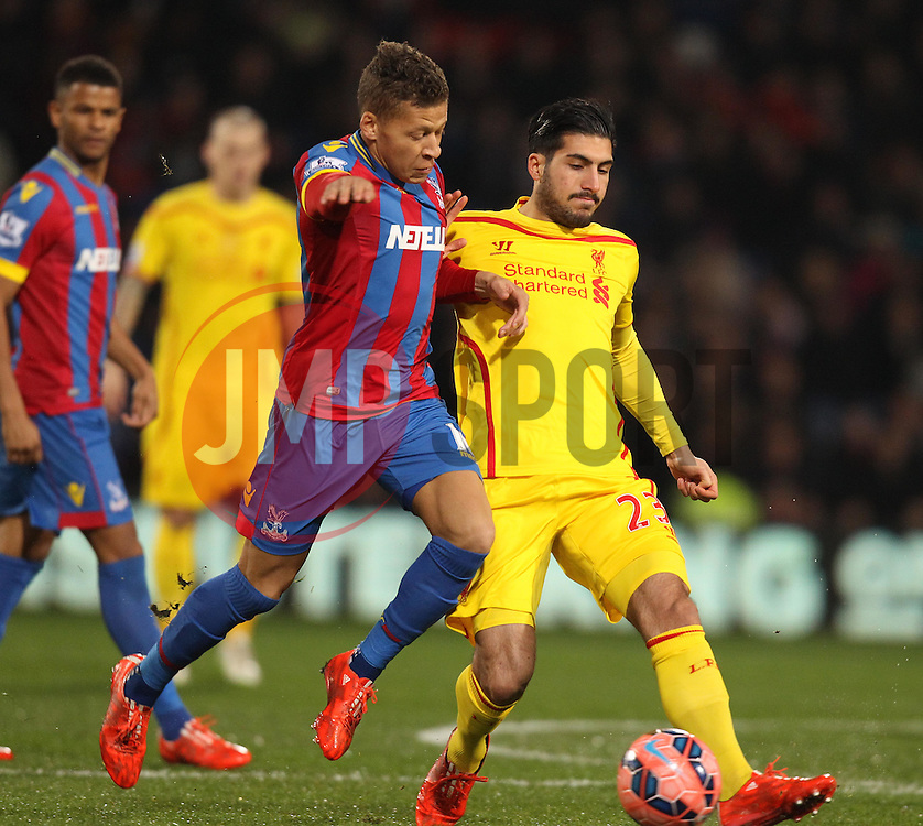 Liverpool's Emre Can and Crystal Palace's Dwight Gayle battle - Photo mandatory by-line: Robbie Stephenson/JMP - Mobile: 07966 386802 - 14/02/2015 - SPORT - Football - London - Selhurst Park - Crystal Palace v Liverpool - FA Cup - Fifth Round