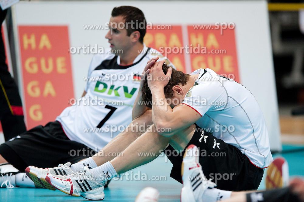 11.09.2011, O2 Arena, Prag, CZE, Europameisterschaft Volleyball Maenner, Vorrunde D, Deutschland (GER) vs Slowakei (SVK), im Bild Lukas Kampa (#11 GER / Bottrop GER) nach der Niederlage // during the 2011 CEV European Championship, Germany vs Slovakia at O2 Arena, Prague, 2011-09-11. EXPA Pictures © 2011, PhotoCredit: EXPA/ nph/  Kurth       ****** out of GER / CRO  / BEL ******