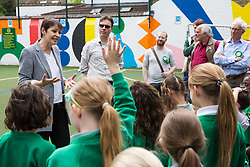 London, UK. 22 May, 2019. Caroline Lucas, Green Party MP for Brighton Pavilion, joins pupils from Bessemer Grange Primary school in visiting Goose Green Primary school in East Dulwich and the green pollution screen which local Green Party members helped to plant during campaigning for the European elections. Scott Ainslie and Gulnar Hasnain, who top the Green Party list in London, also attended.