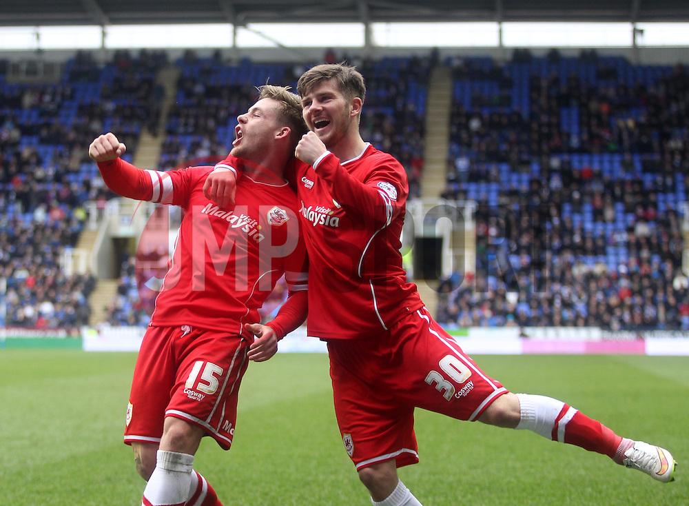 Cardiff City's Conor McAleny celebrates scoring with Cardiff City's Matthew Kennedy - Photo mandatory by-line: Robbie Stephenson/JMP - Mobile: 07966 386802 - 04/04/2015 - SPORT - Football - Reading - Madejski Stadium - Reading v Cardiff City - Sky Bet Championship