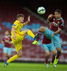 UPTON PARK, ENGLAND - Friday, September 12, 2014: Liverpool's Daniel Trickett-Smith in action against West Ham United's Josh Cullen during the Under 21 FA Premier League match at Upton Park. (Pic by David Rawcliffe/Propaganda)