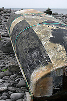 Currach boat on Inis Oirr the Aran Islands Galway Ireland