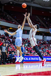 NORMAL, IL - February 08: Christian Williams and Zach Copeland chase a loose ball during a college basketball game between the ISU Redbirds and the Indiana State Sycamores on February 08 2020 at Redbird Arena in Normal, IL. (Photo by Alan Look)