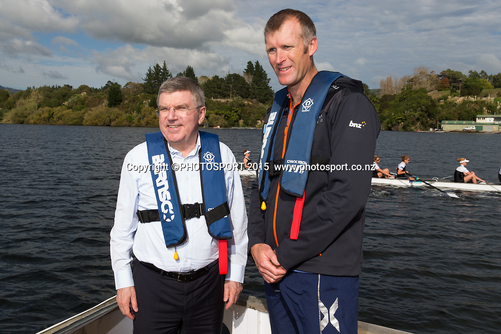 IOC president Thomas Bach and Mahe Drysdale on a barge at the Rowing NZ Media Day, Lake Karapiro, Cambridge, New Zealand, Wednesday 6 May 2015. Photo: Stephen Barker/Photosport.co.nz