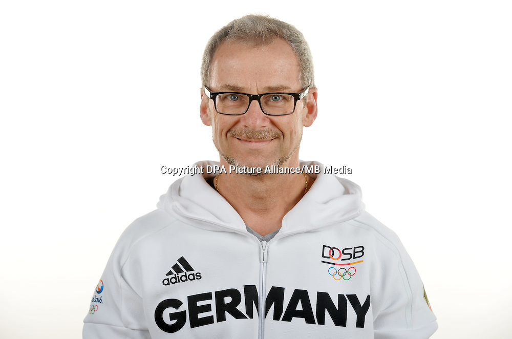 Hans-Peter Boschert poses at a photocall during the preparations for the Olympic Games in Rio at the Emmich Cambrai Barracks in Hanover, Germany. July 08, 2016. Photo credit: Frank May/ picture alliance. | usage worldwide