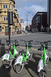 Citybike cycle hire scheme, Liverpool, March 2016, Catholic cathedral in the background