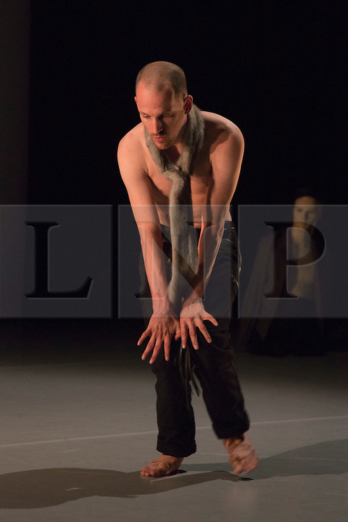 "© Licensed to London News Pictures. 09/10/2015. London, UK. Pictured: Nick Bryson performing. Robin Dingemans & Nick Bryson's ""The Point At Which It Last Made Sense"" is performed at the Lilian Baylis Studio at Sadler's Wells on 9 October 2015. Performers: Nick Bryson, Michael Turinsky and Marlieke Burghouts. Photo credit: Bettina Strenske/LNP"