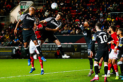 Famara Diedhiou of Bristol City and Chris Martin of Derby County - Rogan/JMP - 12/02/2020 - Ashton Gate Stadium - Bristol, England - Bristol City v Derby County - Sky Bet Championship.