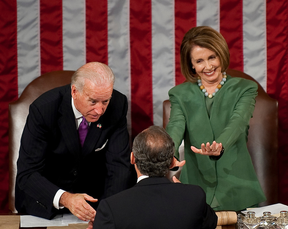 May 20, 2010 - Washington, District of Columbia, U.S., - Mexican President Felipe Calderon is greeted by Senator Joe Biden and Speaker of the House Nancy Pelosi before addressing lawmakers during a Joint Meeting of Congress in the House chamber on Thursday.(Credit Image: © Pete Marovich/ZUMA Press)