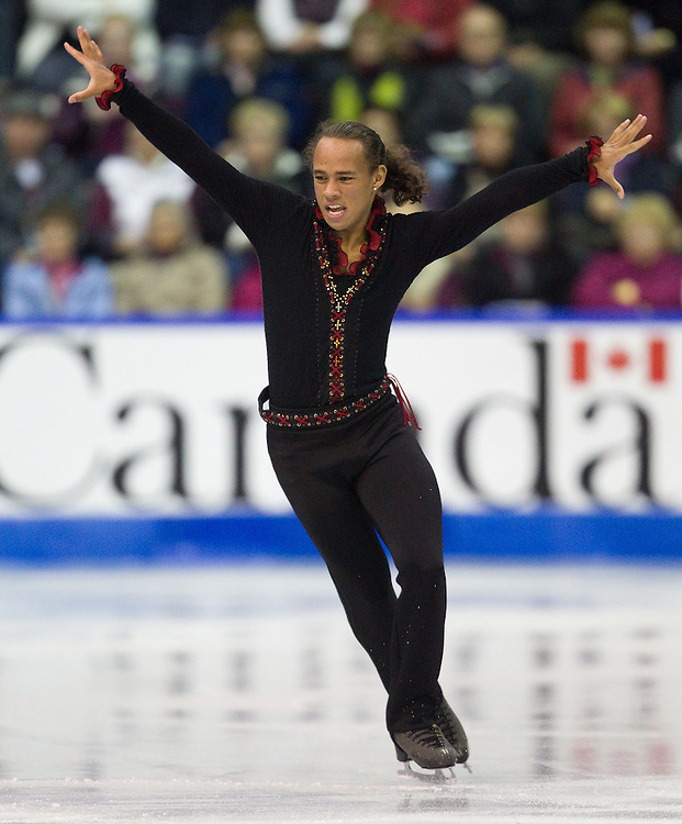 GJR345 -20111028- Mississauga, Ontario,Canada-  Elladj Balde of Canada skates his short program at Skate Canada International, October 28, 2011.<br /> AFP PHOTO/Geoff Robins