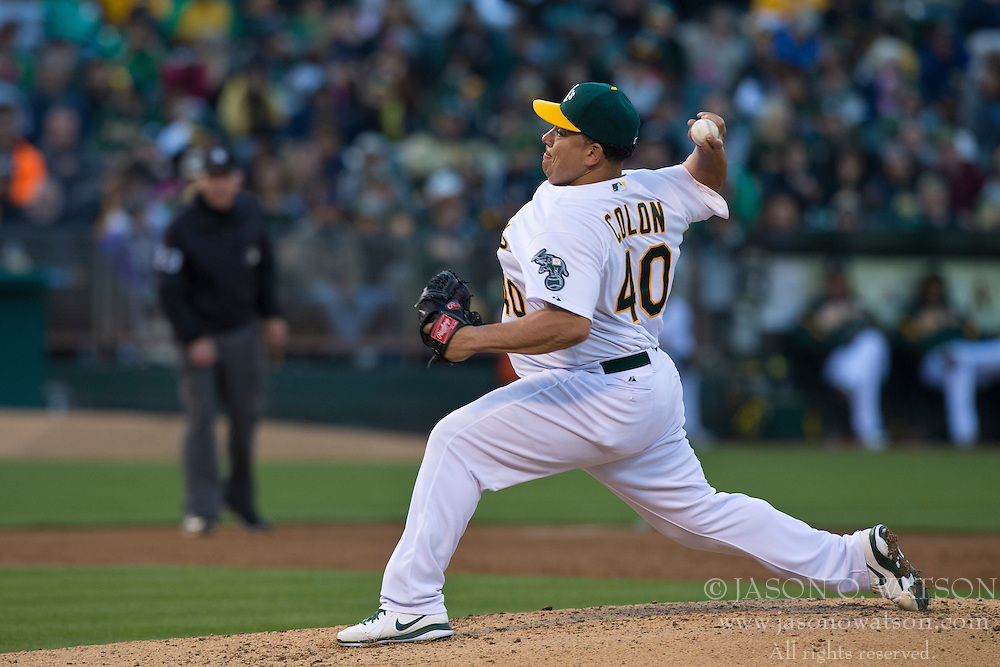 OAKLAND, CA - MAY 14:  Bartolo Colon #40 of the Oakland Athletics pitches against the Texas Rangers during the third inning at O.co Coliseum on May 14, 2013 in Oakland, California. The Texas Rangers defeated the Oakland Athletics 6-5 in 10 innings. (Photo by Jason O. Watson/Getty Images) *** Local Caption *** Bartolo Colon