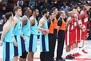 Squadre schierate e inno EuroLeague, AX ARMANI EXCHANGE OLIMPIA MILANO vs FC BARCELLONA LASSA, EuroLeague 2017/2018, Mediolanum Forum, Milano 26 ottobre 2017 - FOTO Bertani/Ciamillo-Castoria