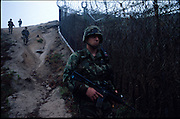 US forces patrol inside the South Korean DMZ (demilitarised zone). This is the world's most heavily mined and guarded border.