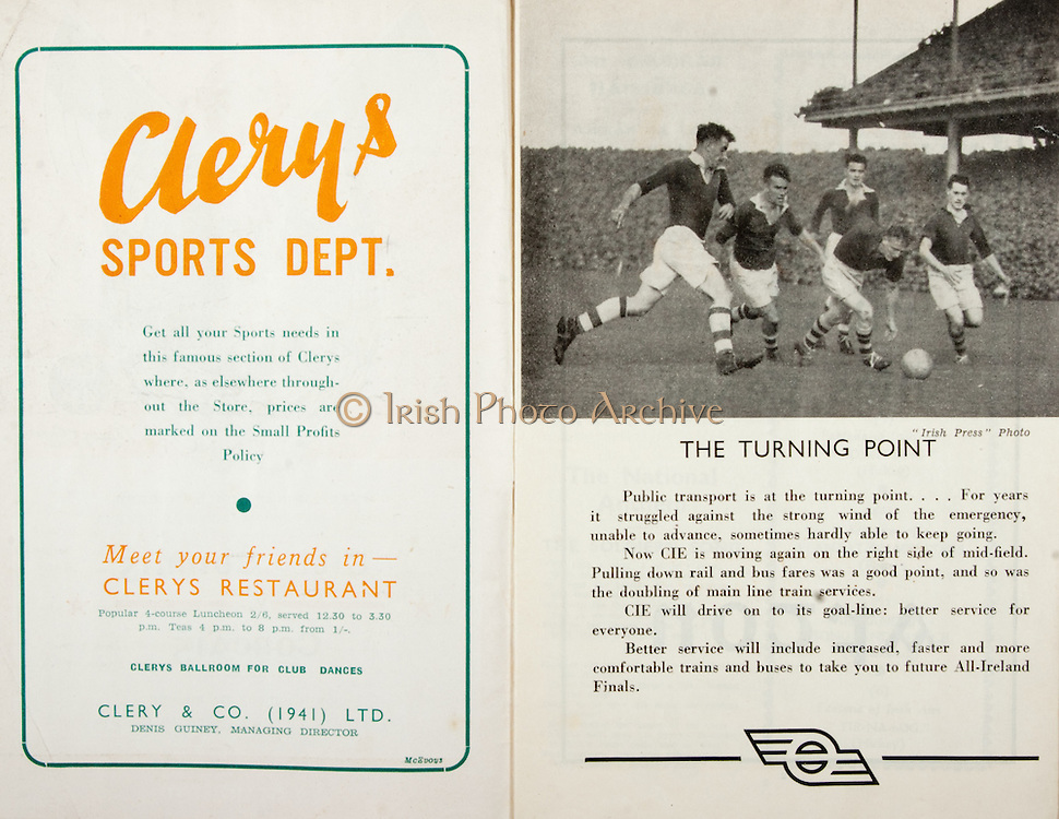 All Ireland Senior Hurling Championship Final,.Brochures,.01.09.1946, 09.01.1946, 1st September 1946, .Cork 7-5, Kilkenny 3-8, .Minor Dublin v Tipperary.Senior Cork v Kilkenny.Croke Park, ..Advertisements, Clery's Sports Dept, ..Articles, The Turning Point,