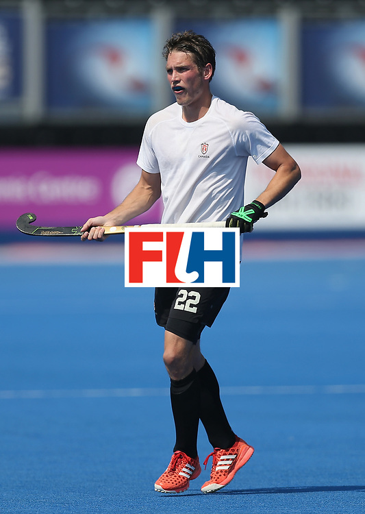 LONDON, ENGLAND - JUNE 19: John Smythe of Canada during the Hero Hockey World League Semi-Final match between Netherlands and Canada at Lee Valley Hockey and Tennis Centre on June 19, 2017 in London, England. (Photo by Alex Morton/Getty Images)