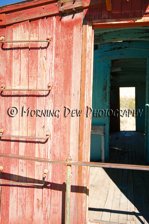 Abandoned caboose from the ghost town of Rhyolite, Nevada.