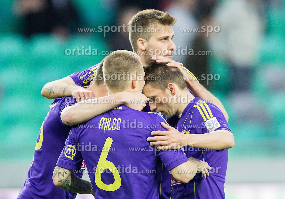 Players of Maribor after the football game between NK Olimpija Ljubljana and NK Maribor in 2nd Leg of Semifinal of Slovenian Cup 2013/14, on April 2, 2014 in SRC Stozice, Ljubljana, Slovenia. Photo by Vid Ponikvar / Sportida