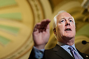 Senator John John Cornyn (R-TX) speaks to the media on Capitol Hill in Washington, D.C, USA, 11 June 2012 about his call for Attorney General Eric Holder to resign citing Holder's refusal to answer questions on ?Fast and Furious,? a gun-walking operation.