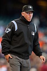 July 26, 2010; San Francisco, CA, USA;  Major League Baseball umpire Lance Barksdale (67) during the first inning at AT&T Park.  Florida defeated San Francisco 4-3.