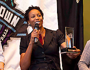Former North Carolina State and ACC Women's Legends inductee Chasity Melvin reflects on her outstanding career during the 2011 ACC Legends Banquette held at the Terrace Greensboro Coliseum Complex in Greensboro, North Carolina.  (Photo by Mark W. Sutton)