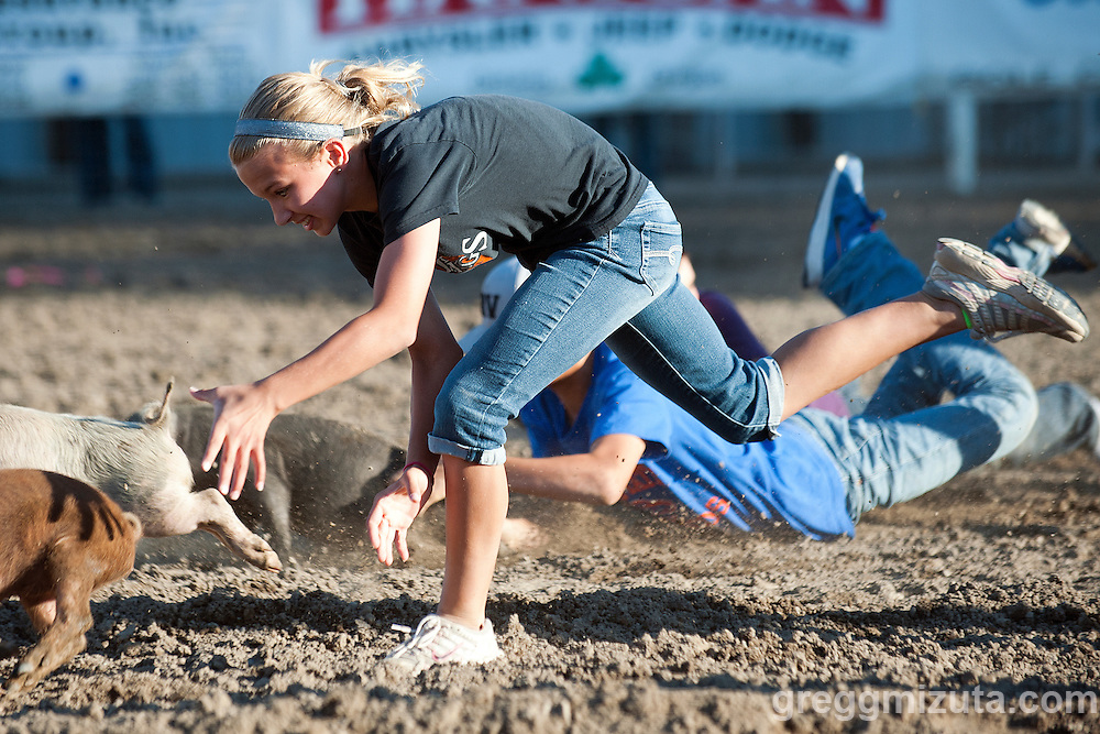 Pig Scramble. Vale 4th of July Rodeo, Vale Rodeo Arena, Vale, Oregon, July 3, 2015.