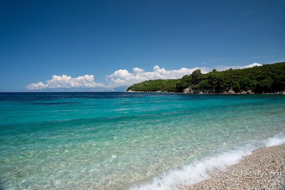 Avlaki Beach on the Northeast Coast of the island of Corfu near the town of Cassiopi.  Corfu, The Ionian Islands, Greece