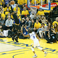 04 June 2017: Cleveland Cavaliers forward LeBron James (23) goes for the dunk on Golden State Warriors forward Andre Iguodala (9) during the Golden State Warriors 132-113 victory over the Cleveland Cavaliers, in game 2 of the 2017 NBA Finals, at the Oracle Arena, Oakland, California, USA.