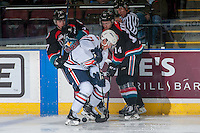 KELOWNA, CANADA - NOVEMBER 1: Lucas Johansen #7 and Jake Kryski #14 of the Kelowna Rockets check Rudolfs Balcers #21 of the Kamloops Blazers on November 1, 2016 at Prospera Place in Kelowna, British Columbia, Canada.  (Photo by Marissa Baecker/Getty Images)  *** Local Caption *** Lucas Johansen; Jake Kryski; Rudolfs Balcers;