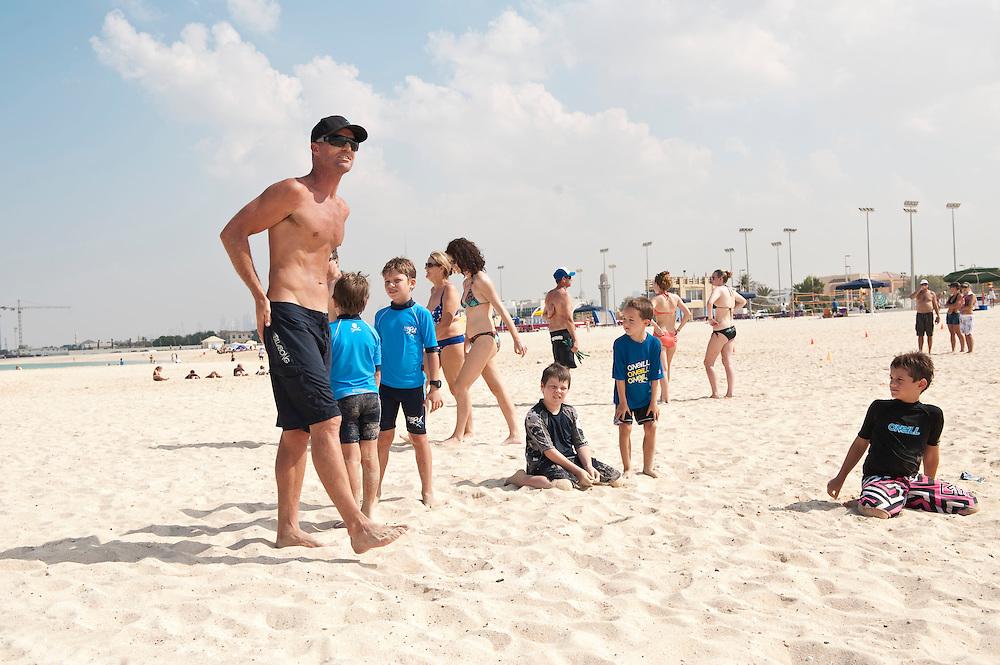 Bondi Rescue Guards train children in sea rescue in Dubai on Saturday, Oct30, 2010. Lifeguard featured: Kris Yates, AKA Yatesey