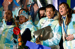 Miha Plahutnik, Andreja Mali,  and Slovenian bronze medalist cross-country skier Petra Majdic at reception at her home town Dol pri Ljubljani after she came from Vancouver after Winter Olympic games 2010, on March 1, 2010 in Dol pri Ljubljani, Slovenia. (Photo by Vid Ponikvar / Sportida)