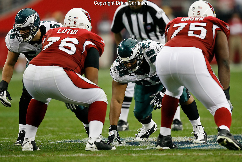 18 Jan 2009: Philadelphia Eagles defensive tackle Mike Patterson #98 during the NFC Championship game against the Arizona Cardinals on January 18th, 2009. The Cardinals won 32-25 at University of Phoenix Stadium in Glendale, Arizona.