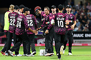 Wicket - Roelof van der Merwe of Somerset celebrates running out Mohammad Hafeez of Middlesex during the Vitality T20 Blast South Group match between Somerset County Cricket Club and Middlesex County Cricket Club at the Cooper Associates County Ground, Taunton, United Kingdom on 30 August 2019.