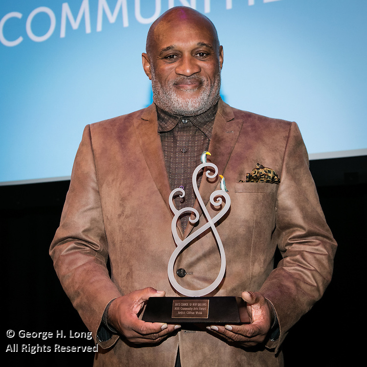 Clifton Webb receives his award at the Arts Council New Orleans Community Arts Awards Celebration at the Civic Theatre December 2, 2015
