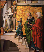 Presentation of the Blessed Virgin Mary in the Temple, oil painting, by Juan de Borgona, 1470-1534, in the Museo Diocesano Cuenca or Cathedral Treasury Museum, in the Episcopal Palace, Cuenca, Spain. The historic walled town of Cuenca is a UNESCO World Heritage Site. Picture by Manuel Cohen