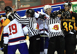 Dennis Seidenberg (5), Per-Age Skroder (19), Mads Hansen and Yannic Seidenberg (36) in fight at ice-hockey match Germany vs Norway (they have old replika jerseys from year 1966) at Preliminary Round (group C) of IIHF WC 2008 in Halifax, on May 07, 2008 in Metro Center, Halifax,Nova Scotia, Canada. (Photo by Vid Ponikvar / Sportal Images)