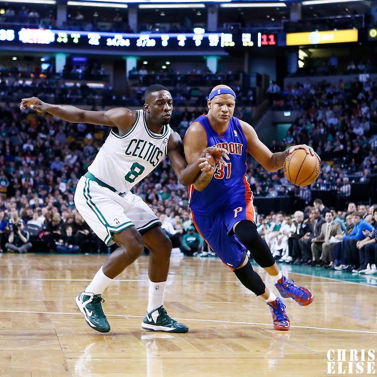 03 April 2013: Detroit Pistons power forward Charlie Villanueva (31) drives past Boston Celtics power forward Jeff Green (8) during the Boston Celtics 98-93 victory over the Detroit Pistons at the TD Garden, Boston, Massachusetts, USA.