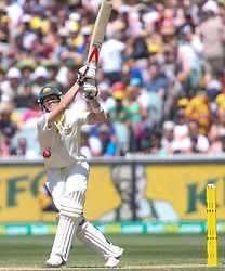 © Licensed to London News Pictures. 27/12/2013. <br /> Steve Smith  gets hit in the chest while batting during Day 2 of the Ashes Boxing Day Test Match between Australia Vs England at the MCG on 27 December, 2013 in Melbourne, Australia. Photo credit : Asanka Brendon Ratnayake/LNP