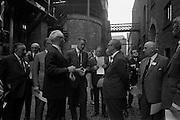 16/06/1967<br /> 06/16/1967<br /> 16 June 1967<br /> Delegates from the XVIth General Assembly of the Federation Internationale des Industries et du Commerce en Gro des Vins, Spiritueux, Eaux-de-Vie, et Liqueurs, sponsored by the Irish Distillers' Association visit John Power and Son Ltd  Distillery at John's Lane, Dublin. <br /> Picture shows: Picture shows Mr Clem J. Ryan (centre left) Production Director, John Power and Son Ltd., Dublin, showing some of the delegates part of the distillery during the visit.